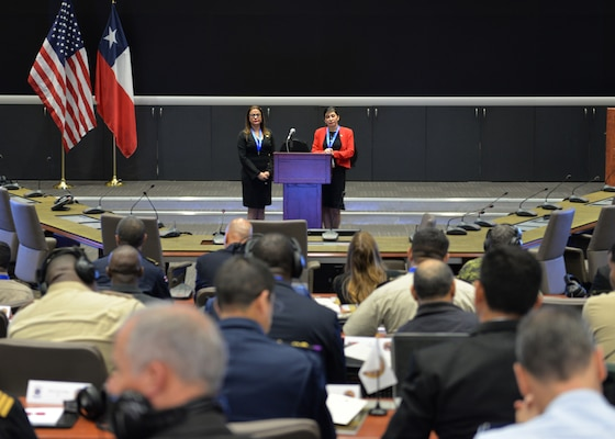 Jessica Solana, left, and Mayra Valle, representing the Dominican Republic present on the Dominican Republic's disaster relief and humanitarian assistance planning during the 2nd Humanitarian Assistance and Disaster Relief workshop.