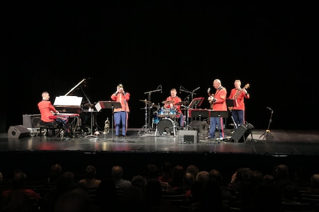 On Sunday, Dec. 16, the Marine Jazz Combo performed holiday favorites at the Bowie Center for the Performing Arts in Bowie, Md. (U.S. Marine Corps photo by Master Sgt. Kristin duBois/released)