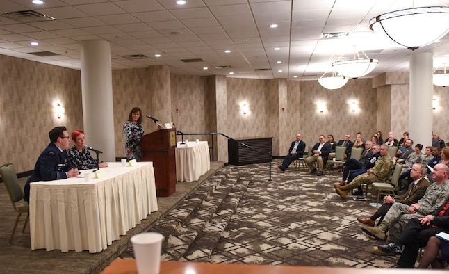 An allied partner of Team Buckley addresses Aurora Defense Council members during an ADC meeting December 13, 2018, at the Double Tree by Hilton in Aurora, Colorado.