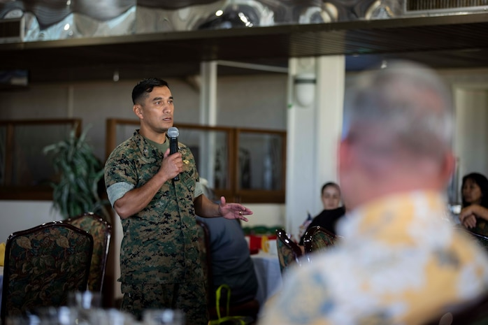 U.S. Marine Corps Col. Raul Lianez, commanding officer, Marine Corps Base Hawaii (MCBH), speaks to retirees attending a breakfast brief for Retiree Appreciation Day at the Officers' Club, MCBH, Dec. 14, 2018. Supported by Marine Corps Community Services, the event provided breakfast, music, raffles and guest speakers from various veteran organizations. (U.S. Marine Corps photo by Sgt. Jesus Sepulveda Torres)