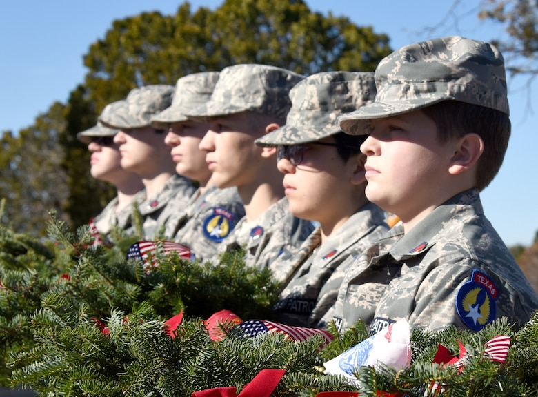 Members from the Civil Air Patrol San Angelo Composite Squadron prepare to hand out wreaths to members from Goodfellow during the Wreaths Across America event held at Belvedere Memorial Cemetery, San Angelo, Texas, Dec. 15, 2018. The San Angelo Composite Squadron has been hosting this event for 13 years. (U.S. Air Force photo by Airman 1st Class Seraiah Hines/Released)