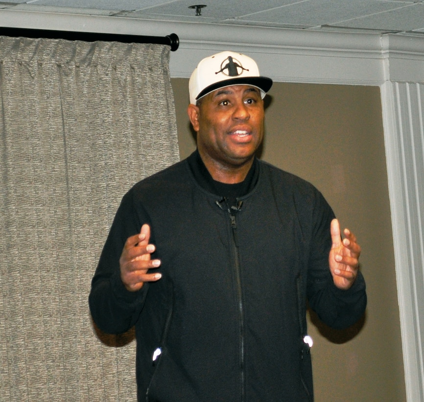 "Motivational speaker, Eric Thomas, Ph.D., shared his personal story mixed with inspirational messaging and emphasized to Airmen they should continue to bring excellence to their jobs during his ""Take Control: Respect the Process"" presentation Dec. 7 at the Tinker Club on Tinker Air Force Base"