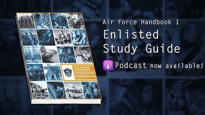 AFH 1 Enlisted Study Guide podcast channel on the Defense Visual Information Distribution Service. (U.S. Air Force graphic/2nd Lt. Robert Guest)