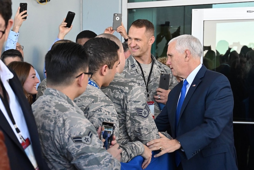 Vice President Mike Pence greeting airmen