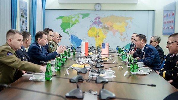 Air Force Gen. Joseph Lengyel, chief, National Guard Bureau, meets with Polish Armed Forces civilian and military leaders, Warsaw, Poland, Dec. 14, 2018.
