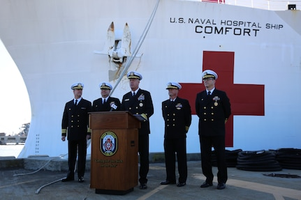 Rear Admiral Sean Buck, Commander, U.S. Naval Forces Southern Command addresses reporters at press conference for the homecoming of USNS Comfort.
