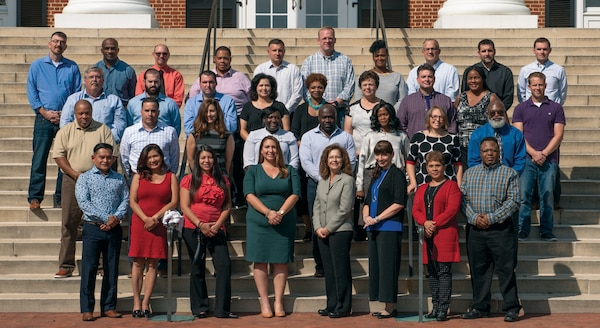 Group photo of students at the University of Virginia, Darden School of Business in Charlottesville, Virginia.