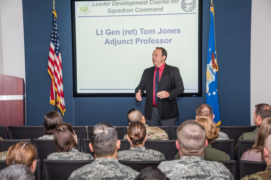 Retired Lt. Gen. Tom Jones, a former vice commander of U.S. Air Forces in Europe-Air Forces Africa, welcomes students to the Leader Development Course for Squadron Command class, Oct. 30, 2018, at Air University, Maxwell Air Force Base, Alabama. Jones provided one of several senior leader perspectives, facilitating discussions about leadership with the students during the eight-day course. (U.S. Air Force photo by William Birchfield)