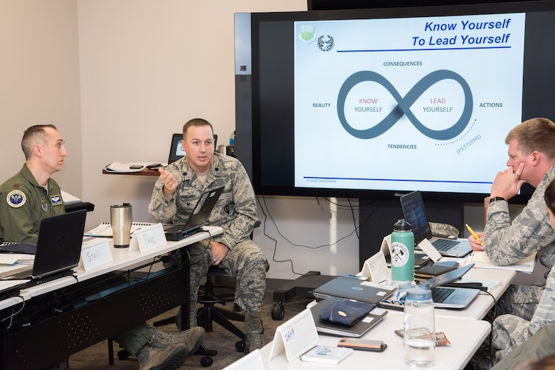 Lt. Col. Daniel Voorhies, part of the initial faculty cadre, leads a seminar discussion with students on self-awareness during the Leader Development Course for Squadron Command, Oct. 31, 2018, at Air University, Maxwell Air Force Base, Alabama. The course builds on leadership experience and education, with a primary emphasis of instilling in students a greater mastery of the 'human domain' of leadership. (U.S. Air Force photo by William Birchfield)