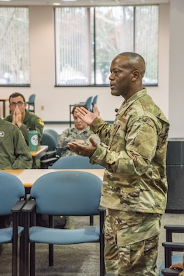Brig. Gen. Ronald Jolly Sr., commander of the 82nd Training Wing, Sheppard Air Force Base, Texas, engages with students attending a panel discussion on 'Leading the Air Force Family' during a Leader Development Course for Squadron Command session, Nov. 5, 2018, at Air University, Maxwell Air Force Base, Alabama. Along with Jolly, the panel consisted of a wing command chief, squadron commander and first sergeant. (U.S. Air Force photo by William Birchfield)