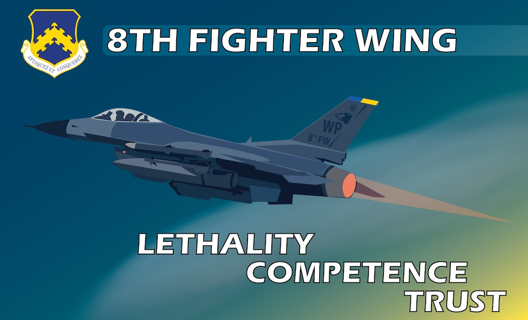 """A poster displaying the 8th Fighter Wing Commander's Priorities for the Wolf Pack. The poster elements lists the three priorities of Lethality, Competence, and Trust which supports the wing's mission of Defend the Base, Accept Follow-on Forces, and Take the Fight North. The F-16 Fighting Falcon is the primary aircraft flown by the 8th Fighter Wing and is shown launching into the dark emphasizing the """"Fight Tonight"""" mentality our Wolf Pack Airmen must maintain at all times."""