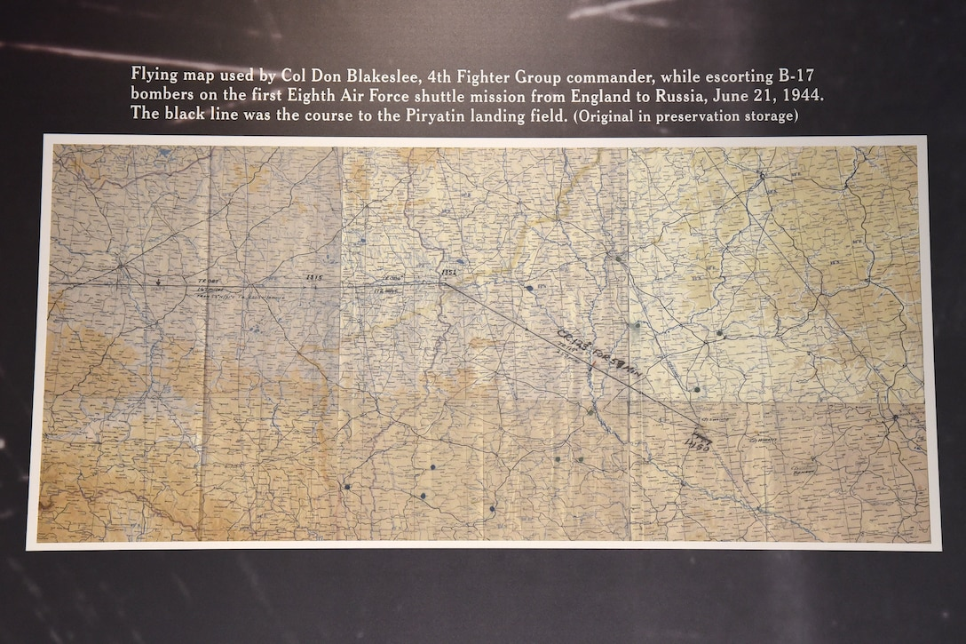 WWII Flying Map used by Col. Don Blakeslee on display at the National Museum of the U.S. Air Force. (U.S. Air Force photo)