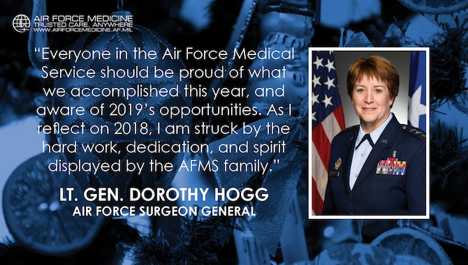 Lt. Gen. Dorothy Hogg, U.S. Air Force Surgeon General, reflects on the hard work, dedication, and spirit displayed by the Air Force Medical Service family throughout 2018. (U.S. Air Force illustration)