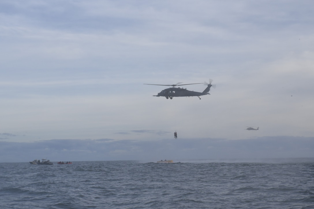 Personnel from the 45th Operations Group, Detachment 3, simulate astronaut rescue and recovery operations, Dec 12, 2018 off the coast of Cape Canaveral Air Station, Fla. As the U.S. prepares to return to human spaceflight, DET 3 in coordination with NASA and commercial partners, will play a direct role in rescue and recovery of astronauts because they are the only Department of Defense unit responsible for all aspects of human spaceflight recovery including planning of rescue tactics, real-world execution, and overall command and control of the human spaceflight mission. (U.S. Air Force photo by Tech. Sgt. Andrew Satran)