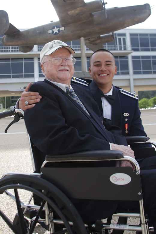 Albert Gill poses with his grandson, U.S. Air Force 2nd Lt. Jacob Gill, after his graduation from the U.S. Air Force Academy in Colorado Springs, Colorado, in this undated photo.   Albert Gill served as a B-24 Liberator navigator with the 307th Bomb Group, known as The Long Rangers, during World War II.  Now his grandson serves with the 307th Bomb Wing as a student in the unit's Formal Training Unit. (courtesy photo)