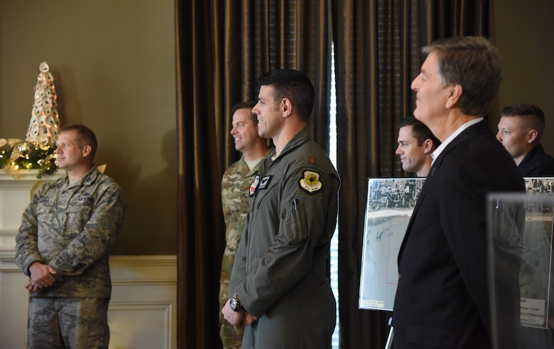 Keesler and Biloxi leadership, along with two U.S. Air Force Thunderbird pilots, attend a press conference to formally announce Thunder Over the Sound: The Keesler and Biloxi Air and Space Show at the Biloxi Visitors Center, in Biloxi, Mississippi, Dec. 18, 2018. The press conference reviewed and confirmed information and acts for the air show and allowed attendees to meet with and ask questions of all speakers. (U.S. Air Force photo by Kemberly Groue)