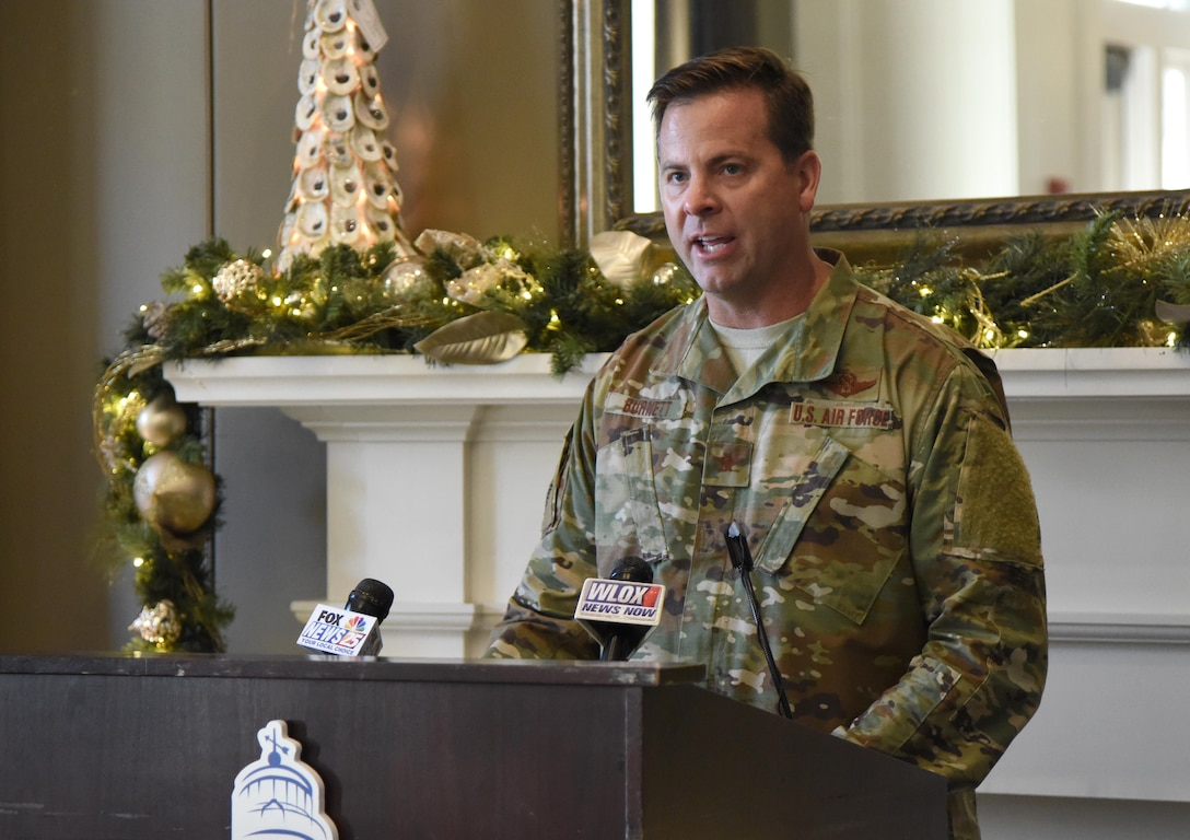 "U.S. Air Force Col. Lance Burnett, 81st Training Wing vice commander, delivers remarks during a press conference formally announcing Thunder Over the Sound: The Keesler and Biloxi Air and Space Show at the Biloxi Visitors Center, in Biloxi, Mississippi, Dec. 18, 2018. Burnett was joined by Andrew ""Fo Fo"" Gilich, Biloxi mayor, and two U.S. Air Force Thunderbird pilots at the press conference which reviewed and confirmed information and acts for the air show and allowed attendees to meet with and ask questions of all speakers. (U.S. Air Force photo by Kemberly Groue)"
