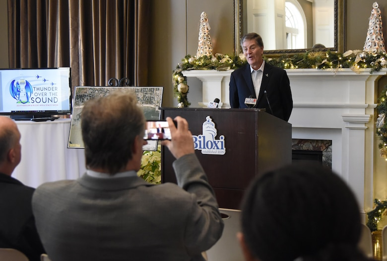 """Andrew """"Fo Fo"""" Gilich, Biloxi mayor, delivers remarks during a press conference formally announcing Thunder Over the Sound: The Keesler and Biloxi Air and Space Show at the Biloxi Visitors Center, in Biloxi, Mississippi, Dec. 18, 2018. Gilich was joined by U.S. Air Force Col. Lance Burnett, 81st Training Wing vice commander, and two U.S. Air Force Thunderbird pilots at the press conference which reviewed and confirmed information and acts for the air show and allowed attendees to meet with and ask questions of all speakers. (U.S. Air Force photo by Kemberly Groue)"""