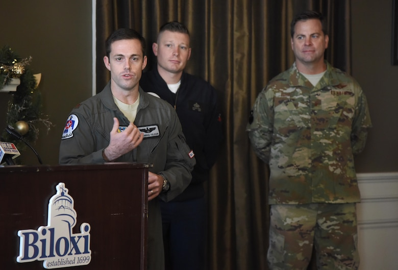 "U.S. Air Force Maj. Branden ""Ash"" Felker, outgoing Thunderbird pilot #8, delivers remarks during a press conference formally announcing Thunder Over the Sound: The Keesler and Biloxi Air and Space Show at the Biloxi Visitors Center, in Biloxi, Mississippi, Dec. 18, 2018. Felker was joined by Keesler and Biloxi leadership at the press conference which reviewed and confirmed information and acts for the air show and allowed attendees to meet with and ask questions of all speakers. (U.S. Air Force photo by Kemberly Groue)"