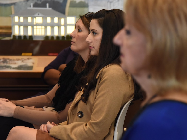 Diana White, 81st Force Support Squadron marketing specialist, and Heather Turner, 81st FSS marketing assistant, attend the press conference formally announcing Thunder Over the Sound: The Keesler and Biloxi Air and Space Show at the Biloxi Visitors Center, in Biloxi, Mississippi, Dec. 18, 2018. Keesler and Biloxi leadership, along with two U.S. Air Force Thunderbird pilots, led the press conference which reviewed and confirmed information and acts for the air show and allowed attendees to meet with and ask questions of all speakers. (U.S. Air Force photo by Kemberly Groue)