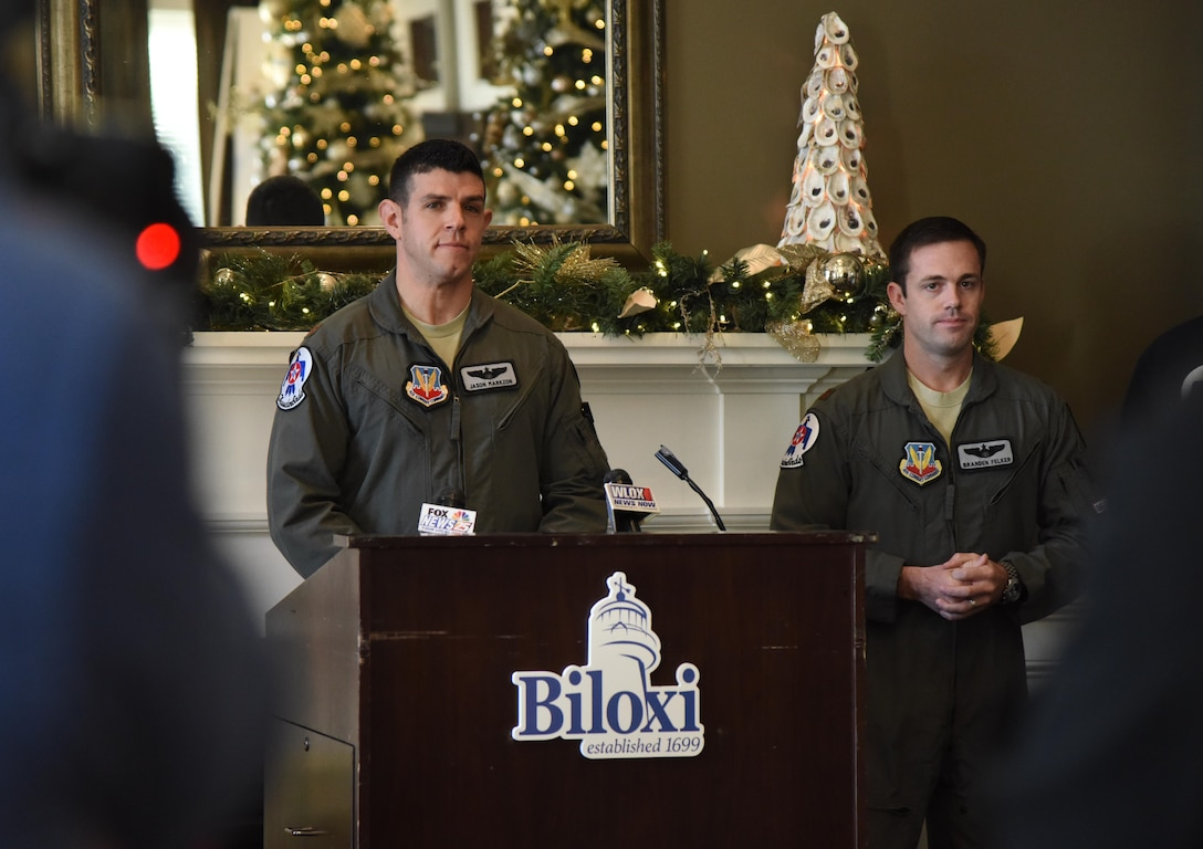 "U.S. Air Force Maj. Jason ""Flack"" Markzon, inbound Thunderbird pilot #8, delivers remarks during a press conference formally announcing Thunder Over the Sound: The Keesler and Biloxi Air and Space Show at the Biloxi Visitors Center, in Biloxi, Mississippi, Dec. 18, 2018. Markzon was joined by Keesler and Biloxi leadership at the press conference which reviewed and confirmed information and acts for the air show and allowed attendees to meet with and ask questions of all speakers. (U.S. Air Force photo by Kemberly Groue)"