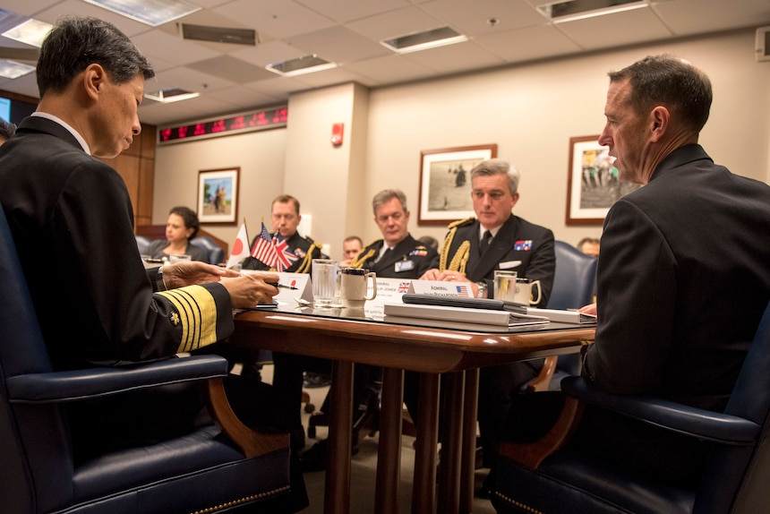 Chief of Naval Operations (CNO) Adm. John Richardson; First Sea Lord, United Kingdom Royal Navy, Adm. Phillip Jones; and Chief of Staff of the Japan Maritime Self-Defence Force, Adm. Tomohisa Takei, meet in the Pentagon for a trilateral maritime discussion, Oct. 20. The three heads of Navy signed an agreement affirming their commitment to collaboration and cooperation.