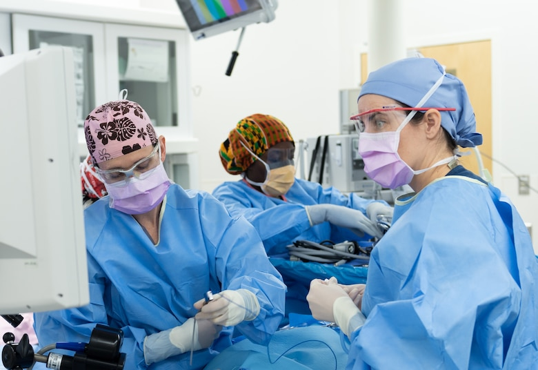 A joint surgical team comprised of three separate branches assembled to perform an operation at U.S. Air Force Hospital Langley at Joint Base Langley-Eustis, Virginia, Dec. 11, 2018.