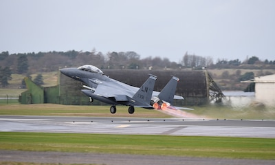 An F-15E Strike Eagle assigned to the 492nd Fighter Squadron takes off for a sortie at Royal Air Force Lakenheath, England, Dec. 18, 2018. The Strike Eagle is a dual-role fighter designed to perform air-to-air and air-to-ground missions. An array of avionics and electronics systems gives the F-15E the capability to fight at low altitude, day or night, and in all weather. (U.S. Air Force photo by Madeline Herzog)