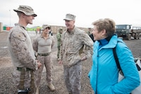Marine Gen. Joe Dunford, chairman of the Joint Chiefs of Staff, and Mrs. Ellyn Dunford meet with deployed service members at bases across Iraq, Dec. 25, 2016 as part of the Chairman's USO Holiday tour.