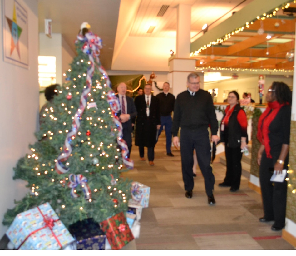 Defense Logistics Agency Troop Support Commander Army Brig. Gen. Mark Simerly thanks employees from the Clothing and Textiles supply chain for their efforts in the 2018 holiday decorating contest in Philadelphia Dec. 20, 2018.
