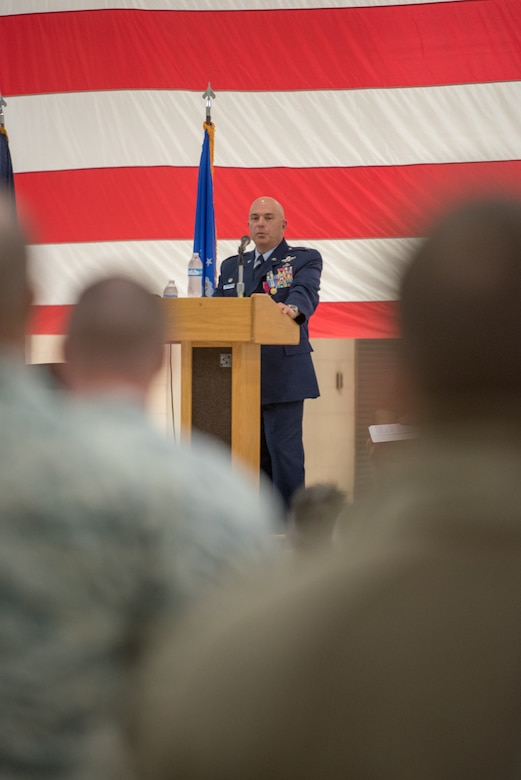 Col. Ken Dale, the outgoing commander of the 123rd Maintenance Group, addresses the crowd during his retirement ceremony at the Kentucky Air National Guard Base, Louisville, Ky., on Dec. 1, 2018. Dale is retiring after more than 38 years of service to the Kentucky Air National Guard. (U.S. Air National Guard photo by Staff Sgt. Joshua Horton)