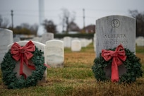 Wreaths are laid across the graves of fallen members of the Armed Forces in honor of National Wreaths Across America Day at Hampton National Cemetery in Hampton, Virginia, Dec. 15, 2018.