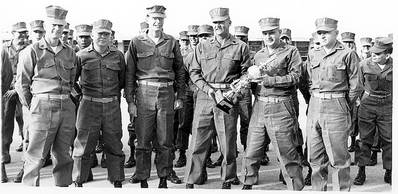 Mark Horning (right) stands with other U.S. Marine sergeants in 1974. (Courtesy photo)