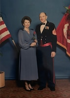 """Mark Horning Stands with his wife Eleanor """"Jean"""" Horning at the U.S. Marine Corps Ball in 1989. (Courtesy photo)"""