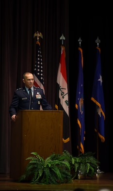 Maj. Gen. Scott Pleus, director of plans, programs, and requirements at Air Combat Command Headquarters at Joint Base Langley-Eustis, Virginia, was the guest speaker for Specialized Undergraduate Pilot Training Class 19-03, Dec. 14, 2018, on Columbus Air Force Base, Mississippi. Pleus graduated from Columbus AFB 28 years ago and was able to tour the facilities again during his visit as a graduation speaker. (U.S. Air Force photo by Airman 1st Class Keith Holcomb)