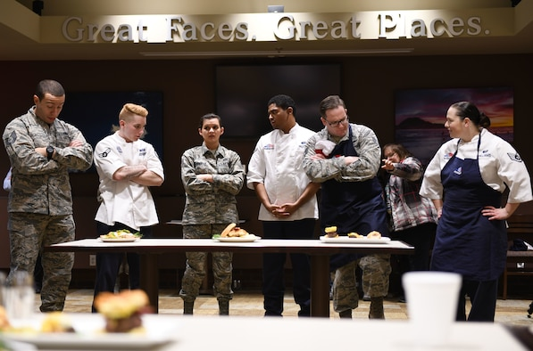 The 28th Force Support Squadron hosts a Chef of the Quarter cook-off at the Raider Café on Ellsworth Air Force Base, S.D., Dec. 18, 2019. The competition began promptly at 1:28 p.m. in recognition of the 28th Bomb Wing. Contestants had one hour to prepare their food, have it plated and present it to the judges. (U.S. Air Force photo by Airman 1st Class Christina Bennett)