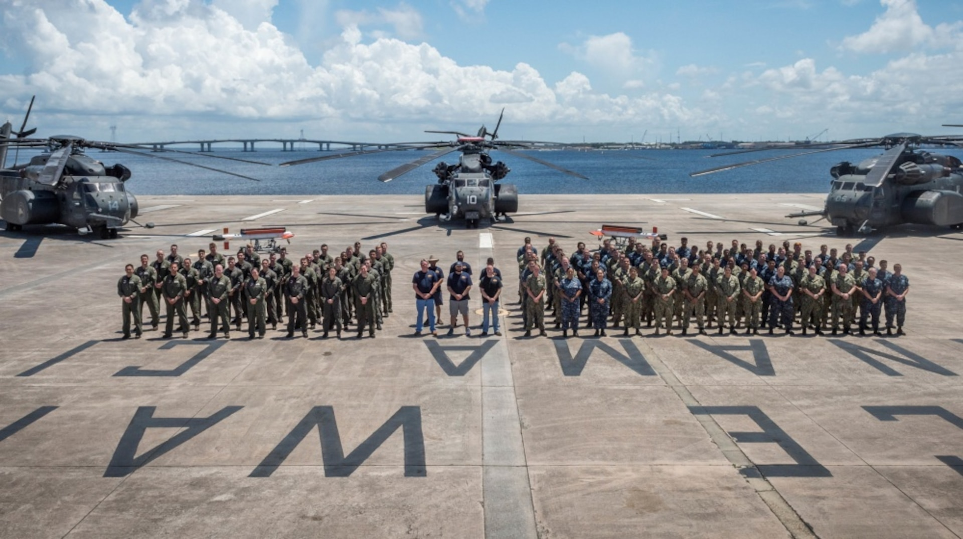 The AN/AQS-24C Mine Detecting Set test team, along with Helicopter Mine Countermeasures Squadron-15 (HM-15), posed for a team photo at the conclusion of a successful test event in Panama City, Florida June, 24, 2018. Personnel pictured by groups from left to right are: HM-15 Pilots and Aircrew, Naval Surface Warfare Center Panama City Division Test Team, and HM-15 Maintainers. U.S. Navy photo by Anthony Powers.