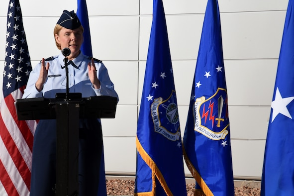 PETERSON AIR FORCE BASE, Colo. – Brig. Gen. Sharon Bannister, deputy assistant director, education and training, Defense Health Agency, speaks during the Dental Clinic ribbon-cutting ceremony, Dec. 18, 2018, at Peterson Air Force Base, Colo. The facility is expected to see 15,000 patients annually and is one of a 10-building medical campus geographically distributed across three military installations providing healthcare and mission-readiness support for more than 25,000 active duty, retired and family member Department of Defense beneficiaries of the 21st Space Wing, 50th SW, and Colorado Springs community. (U.S. Air Force photo by Robb Lingley)