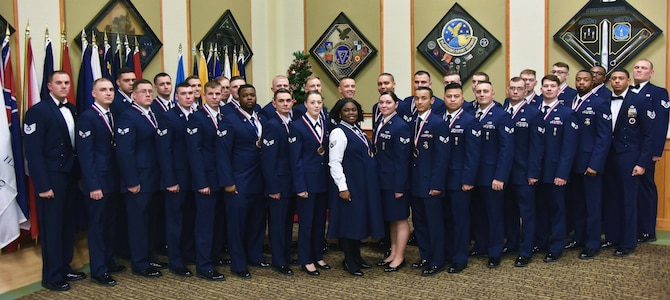 341st Force Support Squadron Airman Leadership School Class 19-B graduated Dec. 19, 2018, at Malmstrom Air Force Base, Mont. Thirty-two Airmen from units across the 341st Missile Wing received their diplomas during a ceremony held at the Grizzly Bend. (U.S. Air Force by Senior Airman Magen M. Reeves)