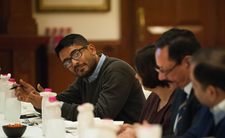 Pushan Das, Obverser's Research Foundation program coordinator, facilitates a round table in which U.S. Air Force Gen. CQ Brown, Jr., Pacific Air Forces commander, participated in during his visit to New Delhi, India, Dec. 17, 2018.