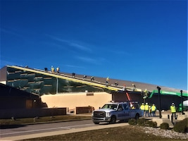 The 325th Fighter Wing F-22 Flight Simulator Building roof at Tyndall AFB, Florida is nearing completion.