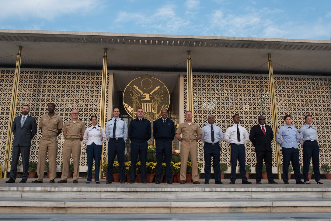 U.S. Air Force Gen. CQ Brown, Jr., Pacific Air Forces commander, takes a group photo with members of the U.S. Embassy in New Delhi, India, Dec. 17, 2018.
