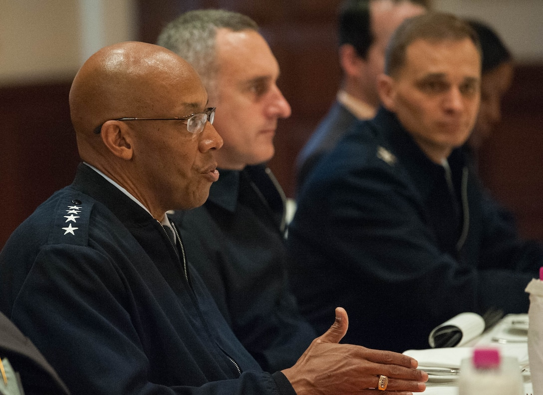 U.S. Air Force Gen. CQ Brown, Jr., Pacific Air Forces commander, participates in a discussion with security analysts, scholars and media during his visit to New Delhi, India, Dec. 17, 2018.