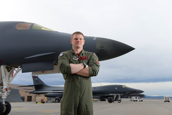 Capt. Patrick Walsh, a 34th Bomb Squadron weapon system officer, won the 2018 Air Force Robbie Risner Award recipient in Las Vegas on Dec. 15, 2018. The Robbie Risner award is bestowed to the Air Force weapons officer who makes the greatest combat impact in their first year after graduation from the Weapons Instructor Course at Nellis Air Force Base, Nevada. (U.S. Air Force photo by Airman 1st Class Nicolas Z. Erwin)