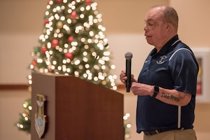 """Senior  Master Sgt. Israel Del Toro encouraged young NCOs to """"be open-minded"""" as he offered the future leaders advice during his speaking engagement at  Buckley AFB, Colo., Dec. 20 2018. Del Toro shared how individuals become great leaders by incorporating all of the little """"bits and pieces"""" they collect over the years from their leadership and mentors. (U.S. Air Force photo by Master Sgt. Eric Amidon)"""