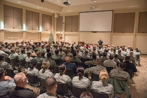 Senior  Master Sgt. Israel Del Toro shares his motivational message covering survival and resiliency with members of the base community at  Buckley AFB, Colo., Dec. 20 2018. Del Toro survived his ordeal with third degree burns to more than 80 percent of his body and severe damage to both of his hands. (U.S. Air Force photo by Master Sgt. Eric Amidon)