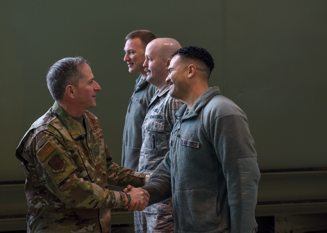 Air Force Chief of Staff Gen. David L. Goldfein shakes hands with 39th Security Forces Squadron Airmen during a visit at Incirlik Air Base, Turkey, Dec. 23, 2018.