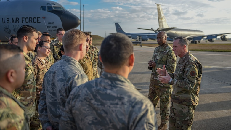 Air Force Chief of Staff Gen. David L. Goldfein and Chief Master Sgt. of the Air Force Kaleth O. Wright speak with U.S. Air Force Airmen assigned to the 22nd Expeditionary Air Refueling Squadron during a visit at Incirlik Air Base, Turkey, Dec. 23, 2018.