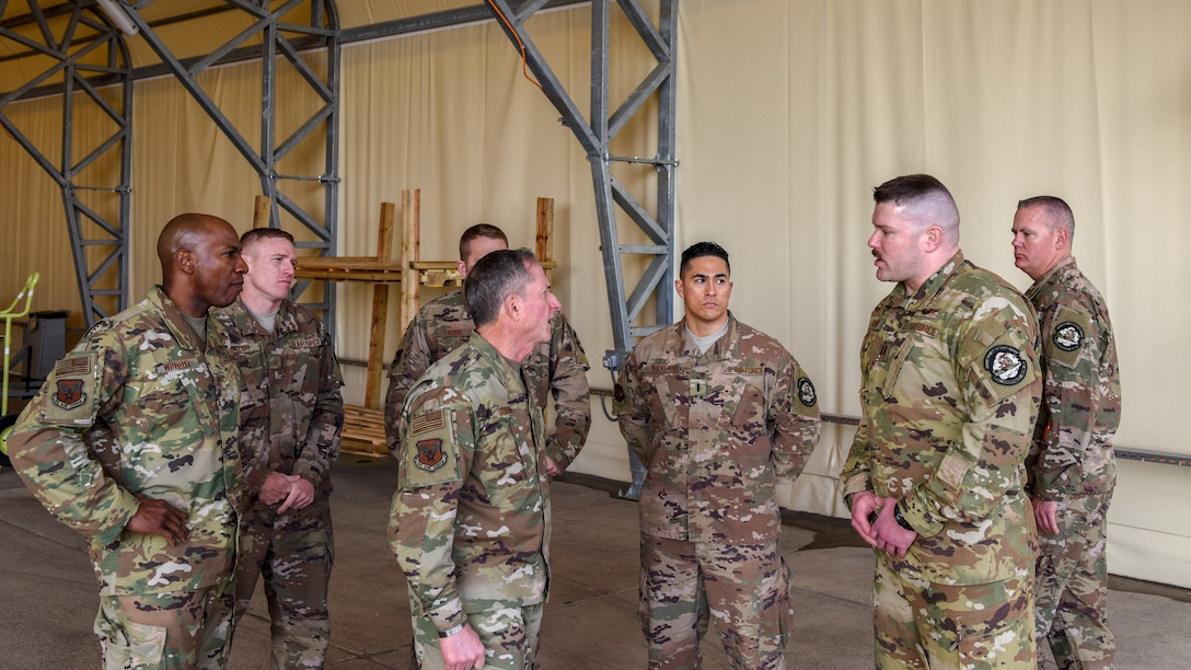 Deployed U.S. Air Force Airmen brief Air Force Chief of Staff Gen. David L. Goldfein and Chief Master Sgt. of the Air Force Kaleth O. Wright on how they support joint warfighters each day during a visit at Incirlik Air Base, Turkey, Dec. 23, 2018.