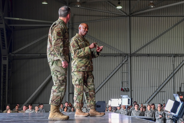 Air Force Chief of Staff Gen. David L. Goldfein and Chief Master Sgt. of the Air Force Kaleth O. Wright speak during an all-call at Incirlik Air Base, Turkey, Dec. 23, 2018.